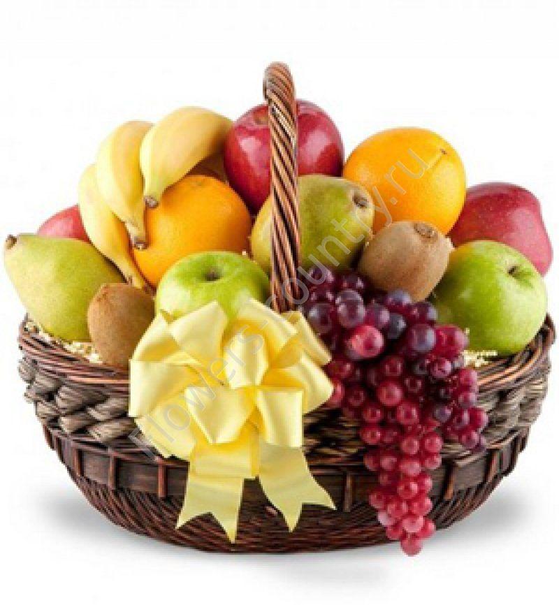Корзина с фруктами (Бананы, Груши, Киви, Апельсины, Виноград и др.)