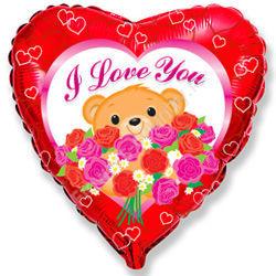 Воздушный шар «Медведь с розами»