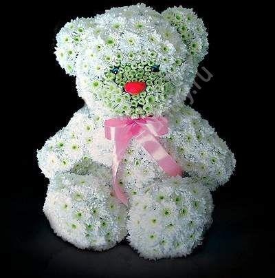 Игрушка из цветов «Белый мишка»