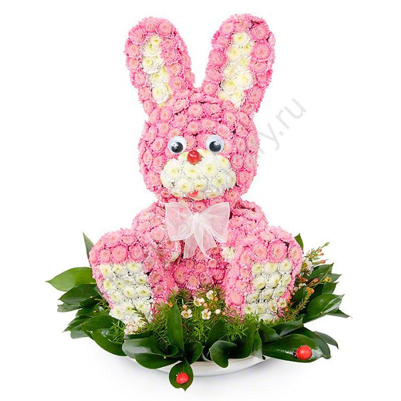 Игрушка из цветов «Зайчик»