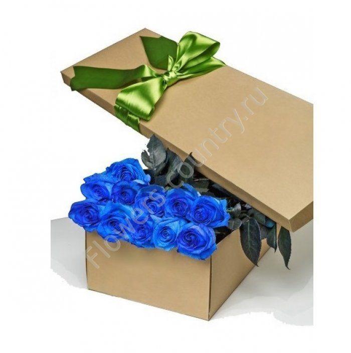 Букет из 15 синих роз в коробке