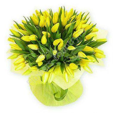 Букет из желтых тюльпанов — 49 шт.
